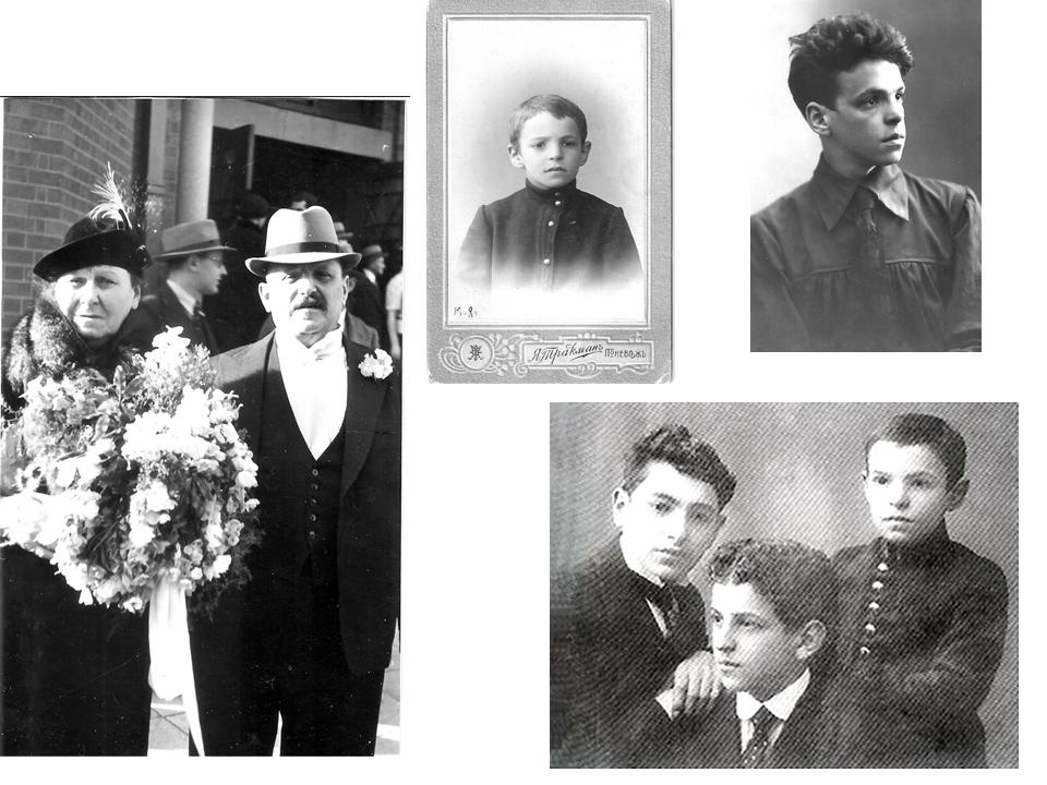 הוריו של אבא - חיה ולייב. אבא בגילאים 9 ו-21 ועם שני אחיו יצחק (באמצע) ואברהם