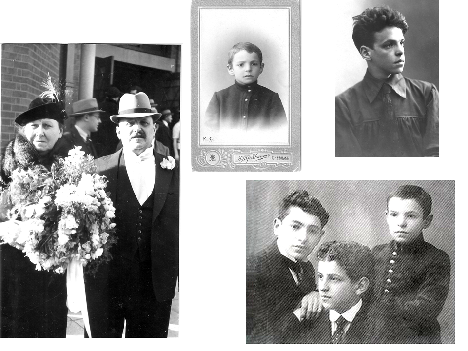 Father's parents Haya and Leyb; Father aged 9 and 21 and with his brothers Yitshak (in the middle) and Abraham (left)
