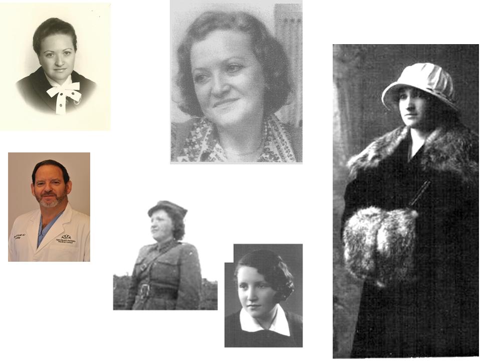 Справа налево против часовой стрелки: первая жена отца Рахиль, их дочь Тамара в разные годы жизни и ее сын д-р Сими Платт