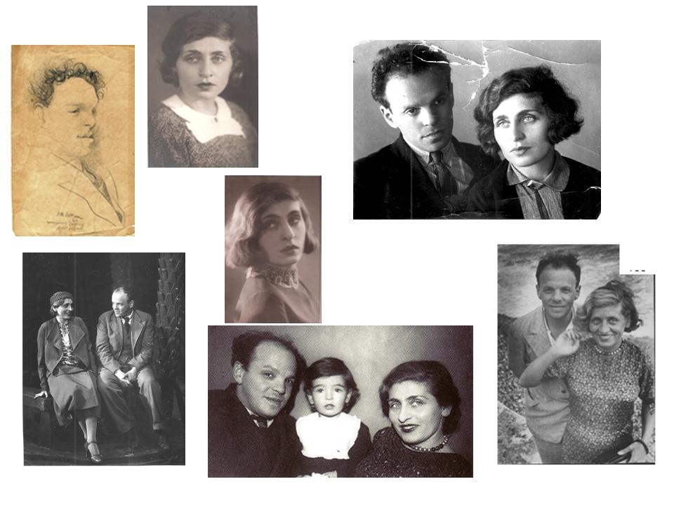Мои родители (на одном снимке – со мной), 1925 – 1938. Вверху слева – карандашный портрет Зускина работы художника Н.Альтмана