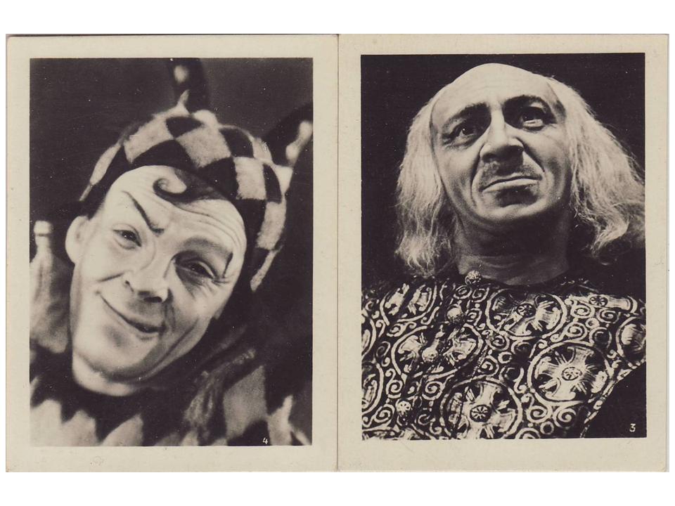 Зускин в роли Шута (слева) и Михоэлс в роли Короля Лира, «Король Лир», 1935