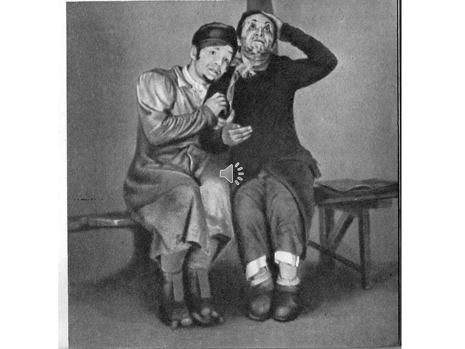 """סנדריל (בצד שמאל – זוסקין) ובנימין השלישי (מיכאלס) ב-""""מסעות בנימין השלישי"""", 1927"""