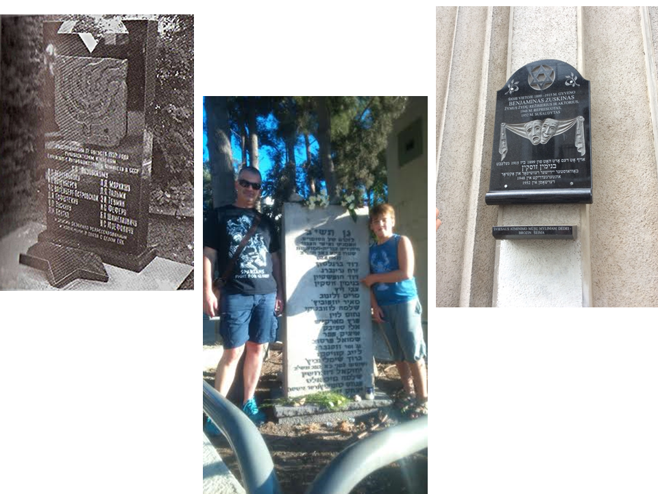 Memorials to Aug 12 victims, including Zuskin – in Moscow (left), set up in 2004, and in Jerusalem, set up in 1979 (standing are my son Alex and grandson Shahar). Right – memorial plaque to Zuskin, Ponievezh (his place of birth), set up in 2011 (courtesy