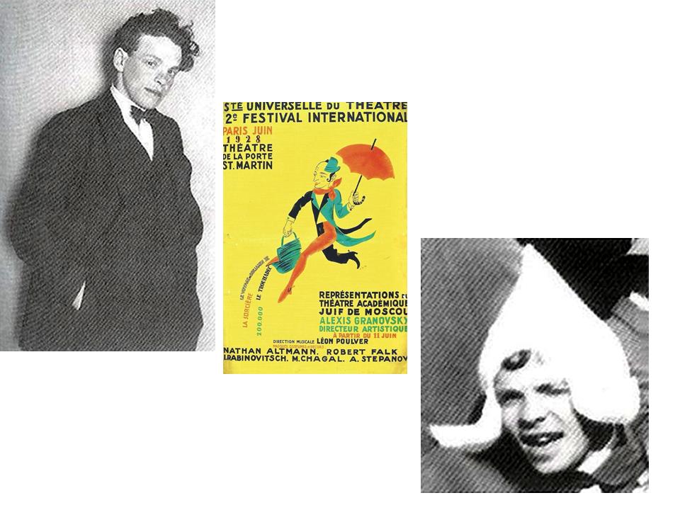Европейские гастроли театра, 1928. Слева: Зускин, Париж.  В центре: афиша о гастролях (художник Н.Альтман), Париж.  Справа: Зускин, Голландия