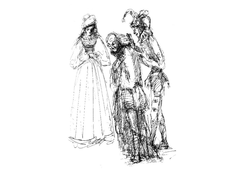 """משמאל: ברקובסקיה-קורדליה, מיכאלס-ליר, זוסקין-לץ ב-""""מלך ליר"""", 1935. רישום – א' טישלר"""