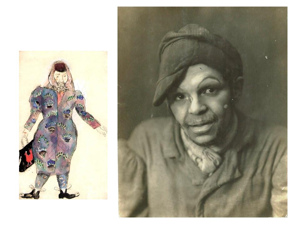 """התפקיד האהוב: סנדריל ב-""""מסעות בנימין השלישי"""", תצלום וסקיצה - ר' פאלק, 1927"""