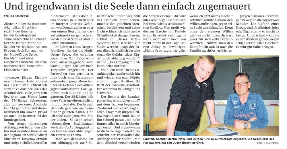 Quelle: Nordkurier vom 8.12.15 - Haffzeitung