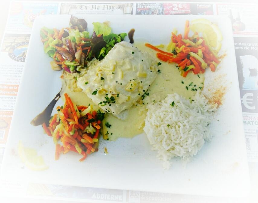 Poisson du jour/riz/petits légumes