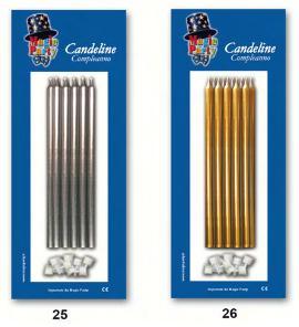 candele lunghe oro e argento confezione da 10 pezzi € 3,00