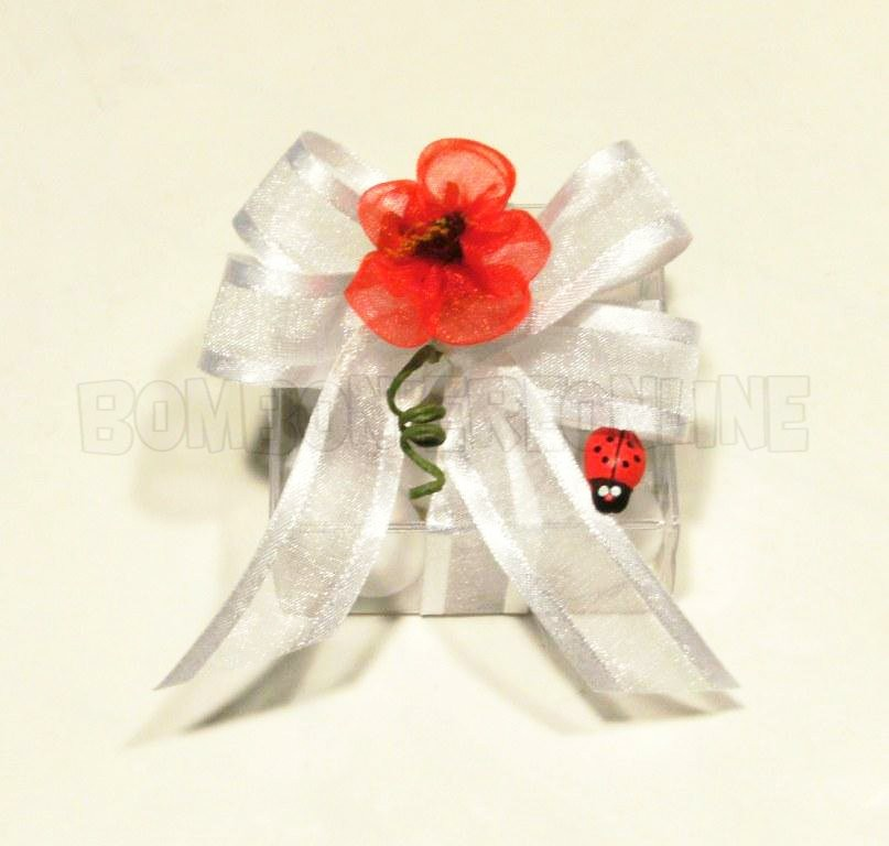 scatolina in acetato trasparente con fiore rosso 5x5h.2,5 N°36