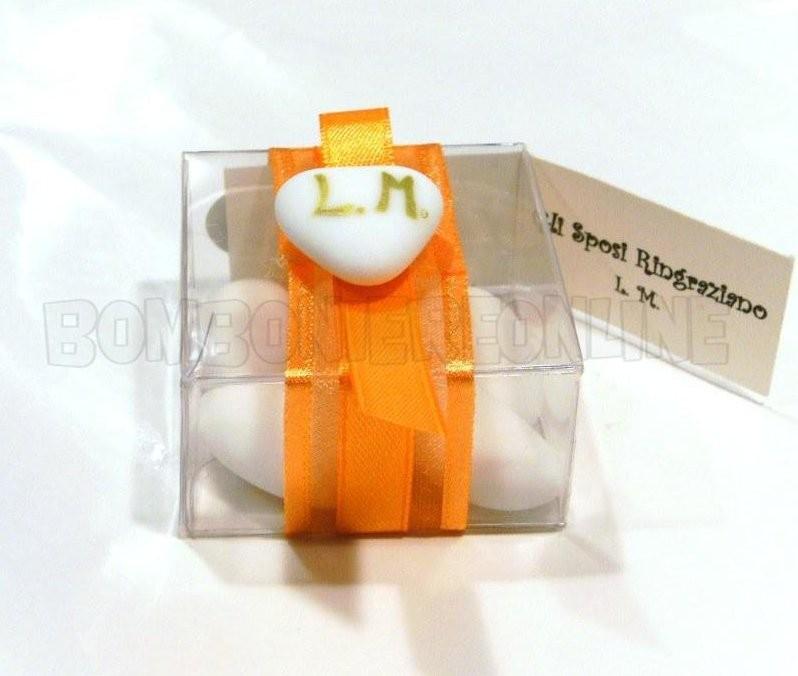 scatolina in acetato trasparente con cuoricino e iniziali 5x5h.2,5 N°35