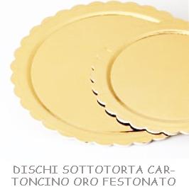 DISCHI SOTTOTORTA CARTONCINO ORO FESTONATO