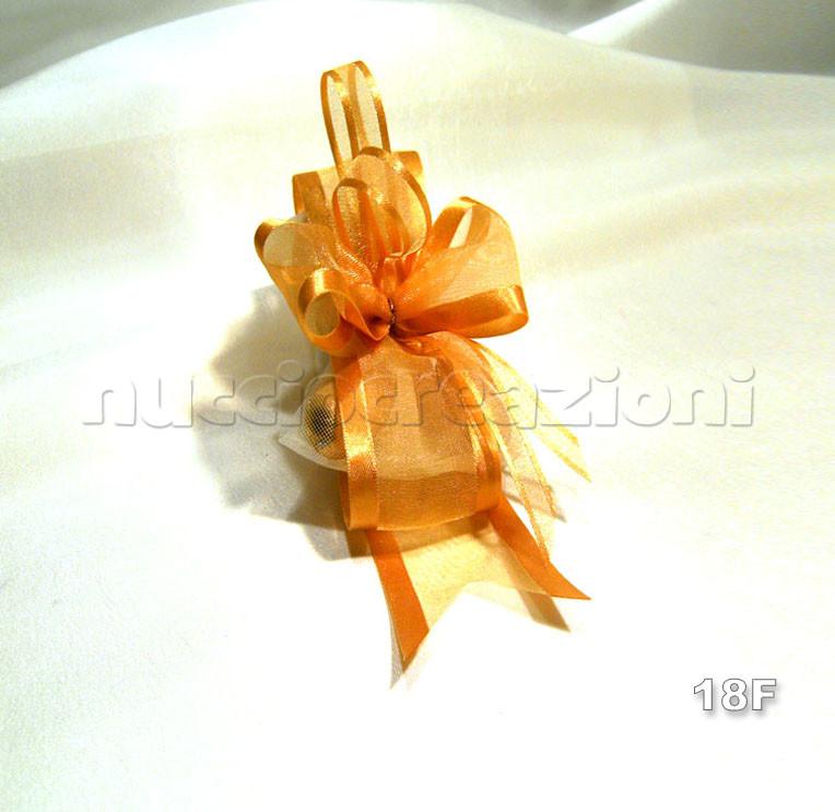 N°18F CREAZIONE BORDATA ORO  creazione bordata oro, 5 confetti avvolti in tulle, nastrini in tinta bordati             €3,20