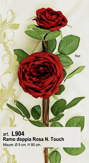 Ramo doppia rosa rosso scuro H 80 cm €7,00