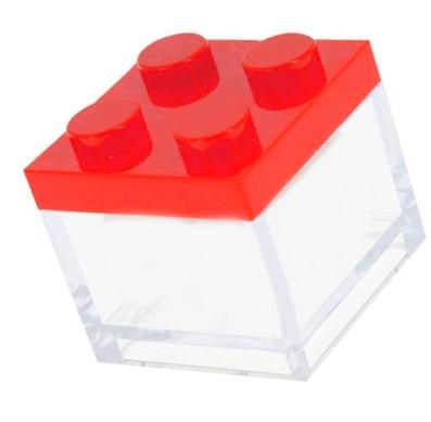 scatola lego rosso in plexiglass 5 x 5 h 4,5  € 2,00