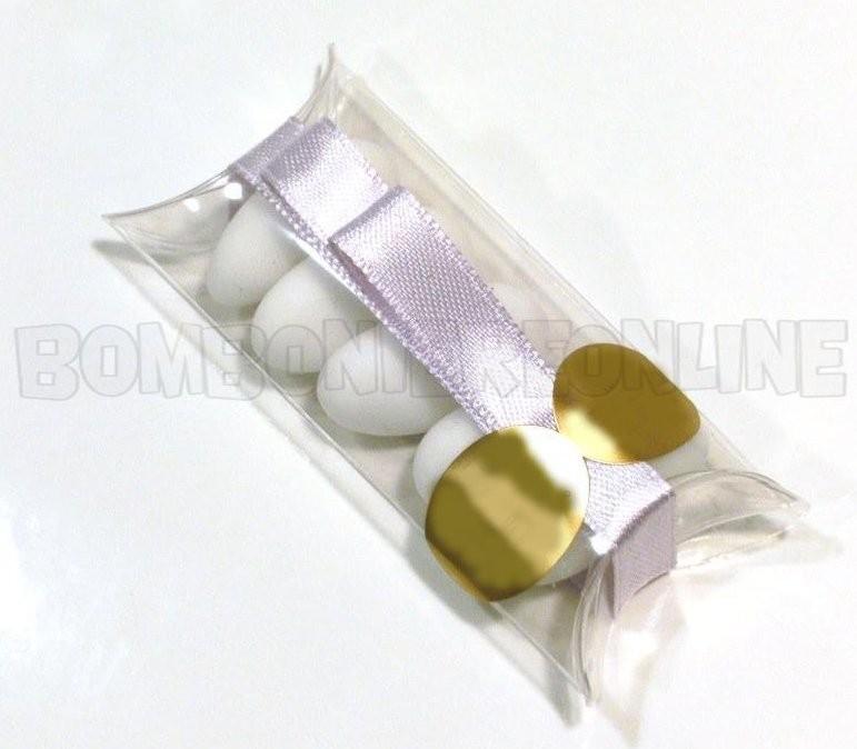 scatolina busta in acetato trasparente nastro lilla 7,5 x 3,2 h.1,8  N°41