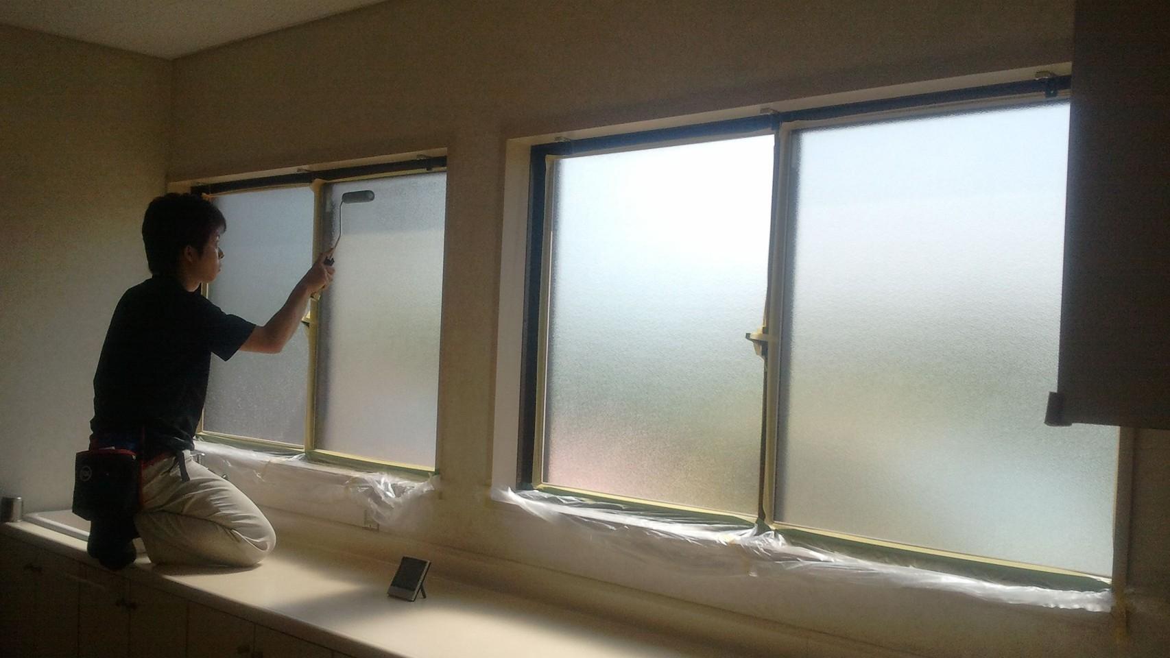 西日対策 断熱ガラス塗装