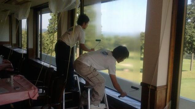 遮熱ガラス塗装工事