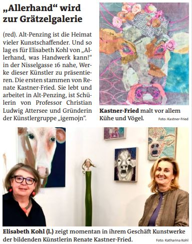 Artikel in der Bezirkszeitung - Grätzl-Galerie bei Allerhand (Elisabeth Kohl und Renate Kastner-Fried)