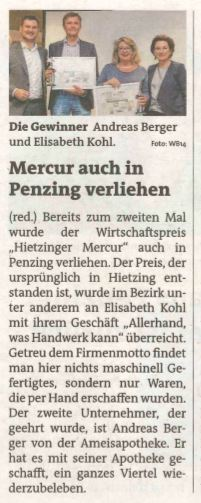 """Artikel in der Bezirkszeitung, Verleihung """"Mercur""""-Preis an Allerhand, was Handwerk!"""
