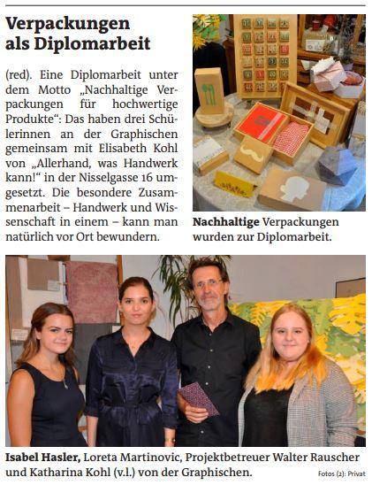 Artikel in der Bezirkszeitung - Diplomarbeitsevent der Verpackerinnen