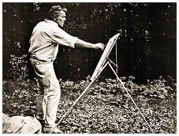 Hans Potthof beim mahlen im freien mit Staffelei