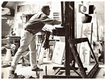 Hans Potthof im Atelier mit Bilder und Staffelei