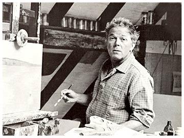 Hans Potthof in seinem Atelier am mahlen