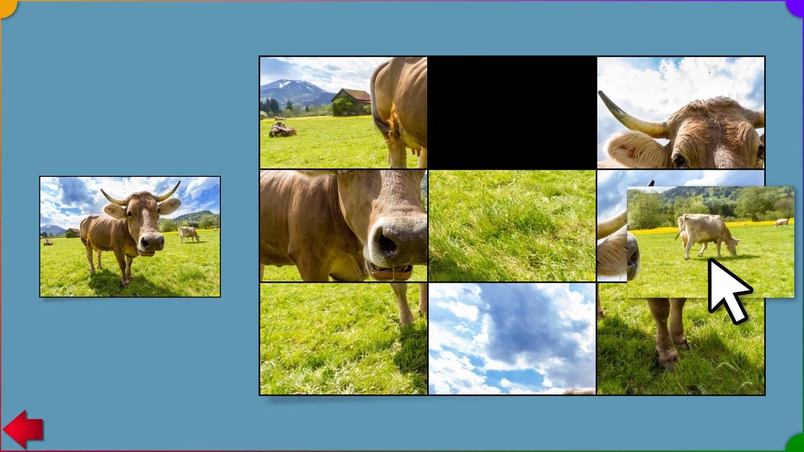 Ein Puzzlebeispiel (einstellbar von 2x2 bis 5x5 Teilen)