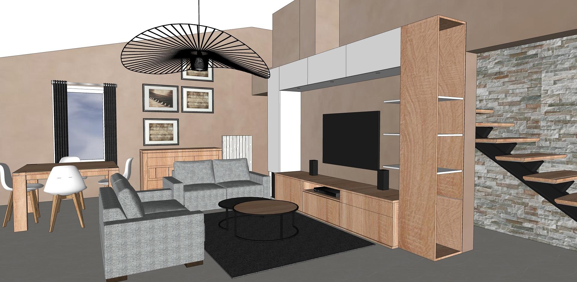 Un grand espace de vie en Ardèche modernisé par la couleur et la création d'un grand meuble TV sur mesure.