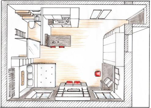Plan d'implantation d'un studio d'étudiant pour fluidifier la circulation, dégager de l'espace et optimiser les rangements.