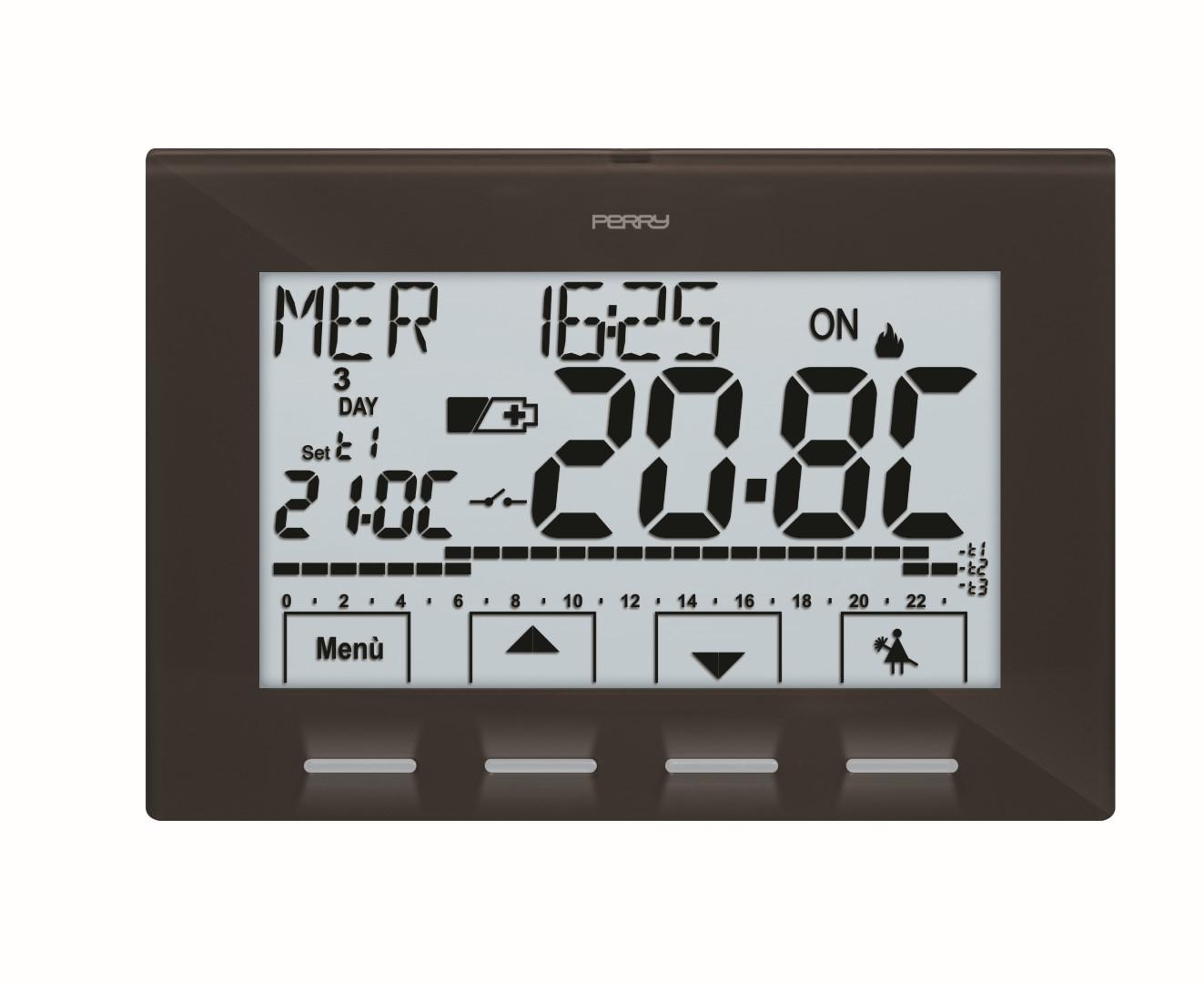 Temperaturregelgeräte - Wandmontage Raum-Thermostatuhren  - 1CR CR028A in anthrazit und weiss