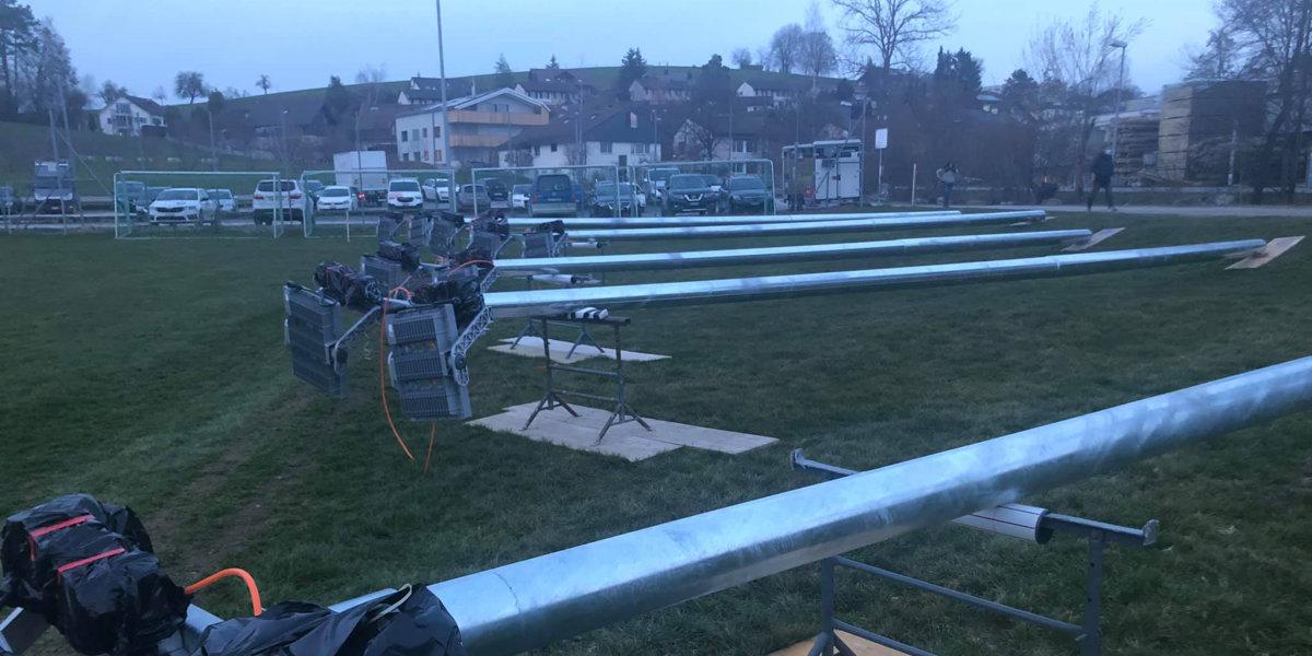 Sportplatz Riet Gossau ZH: Beleuchtungssanierung fast abgeschlossen