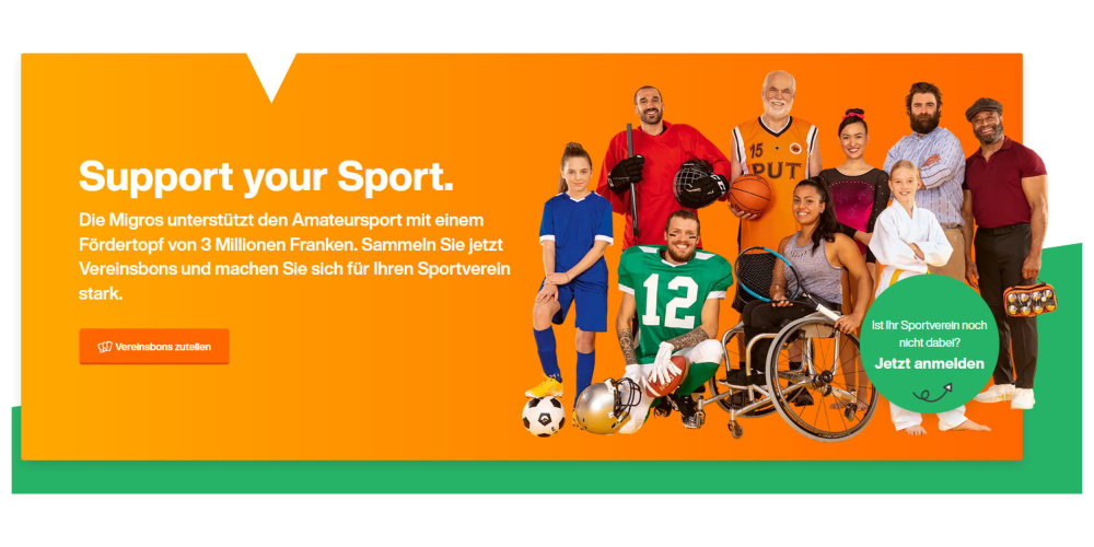 """Migros-Aktion """"Support your Sport"""" auch in Gossau ZH und Grüningen"""