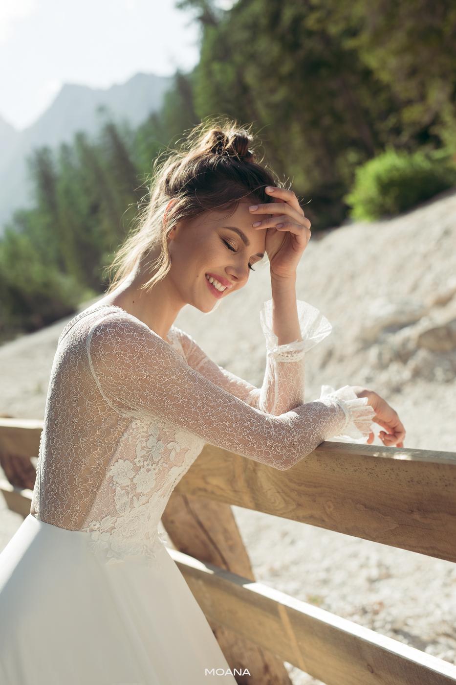 feine Spitze lange Arme Brautkleider im Vintage Stil Chiffon fließen Herbs Winter Hochzeit