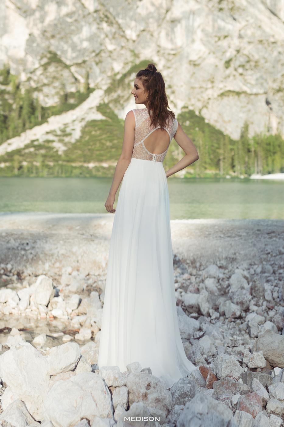 offener Rücken feine Spitze chiffon fließend Brautkleid bequem Baumwolle ohne Glitzer