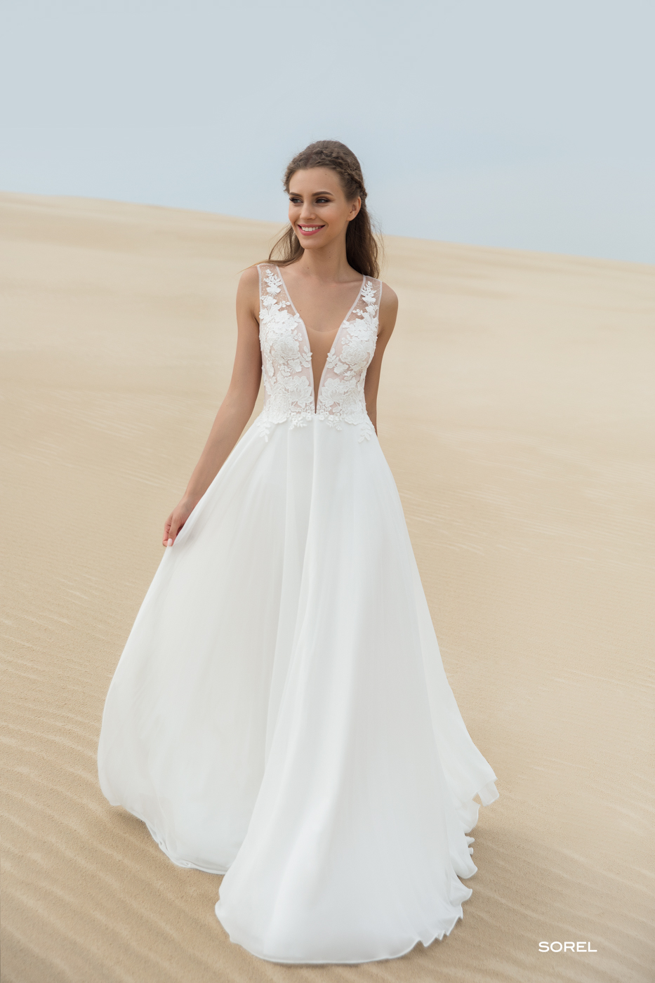 Träger Spitze myLovely Brautkleid tiefer Ausschnitt sexy elegant Sommer Hochzeit Strand Chiffon fließend Blüten Empfehlung