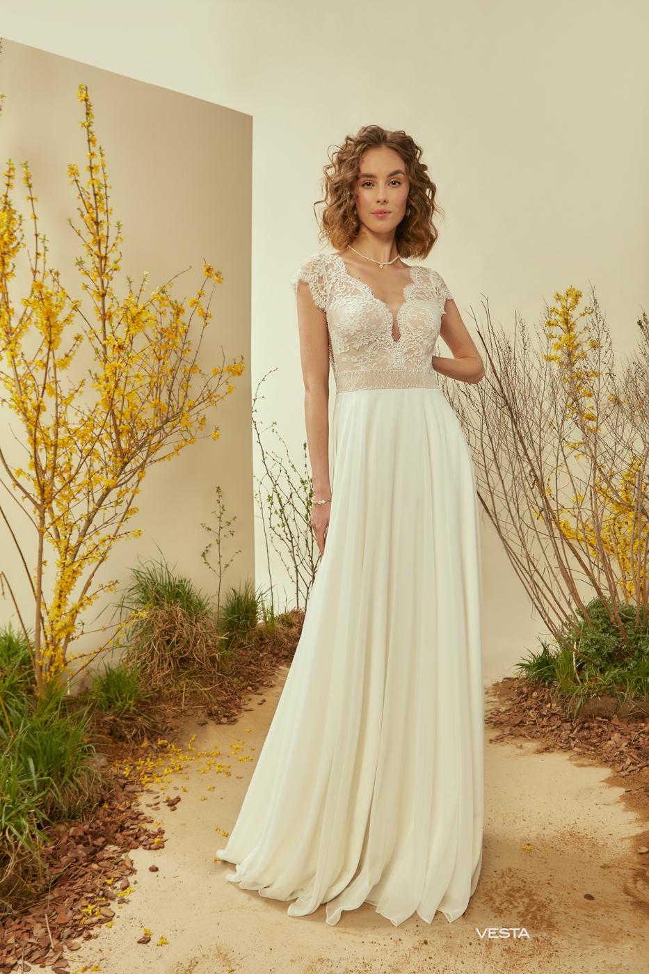 feine Spitze Träger vintage Brautkleid Sommerhochzeit günstig Le Rina hohe Qualität