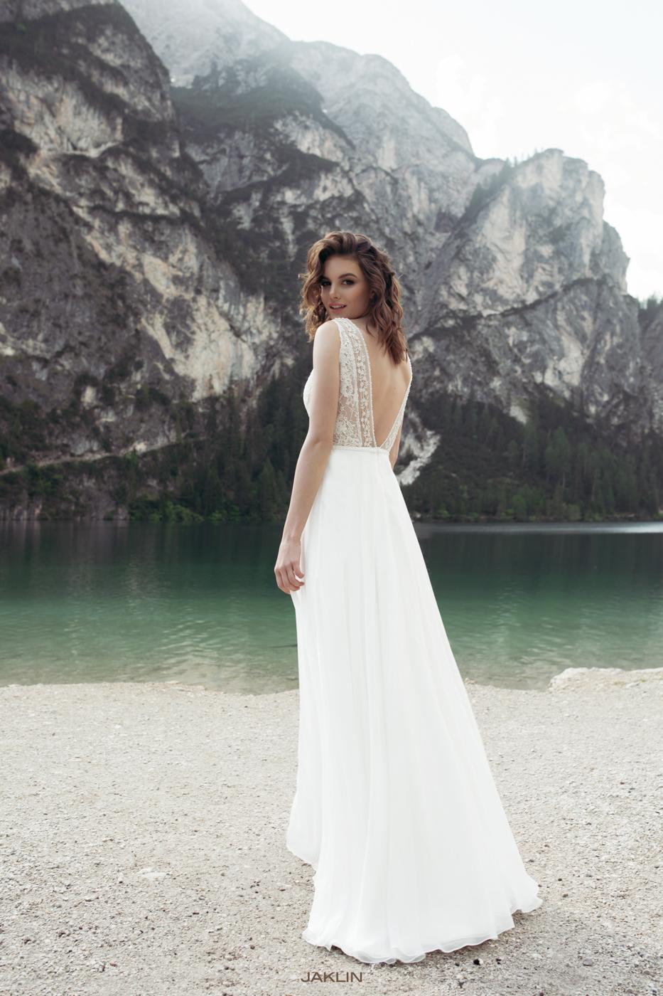 München tiefer Rücken Brautkleider unter 1200 Euro cappuchino Perlen Designer Le Rina