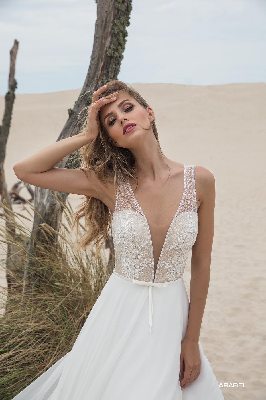 tiefer Ausschnitt leichtes Brautkleid von le rina beliebt feine Spitze sexy Chiffon fließend Strand myLovely
