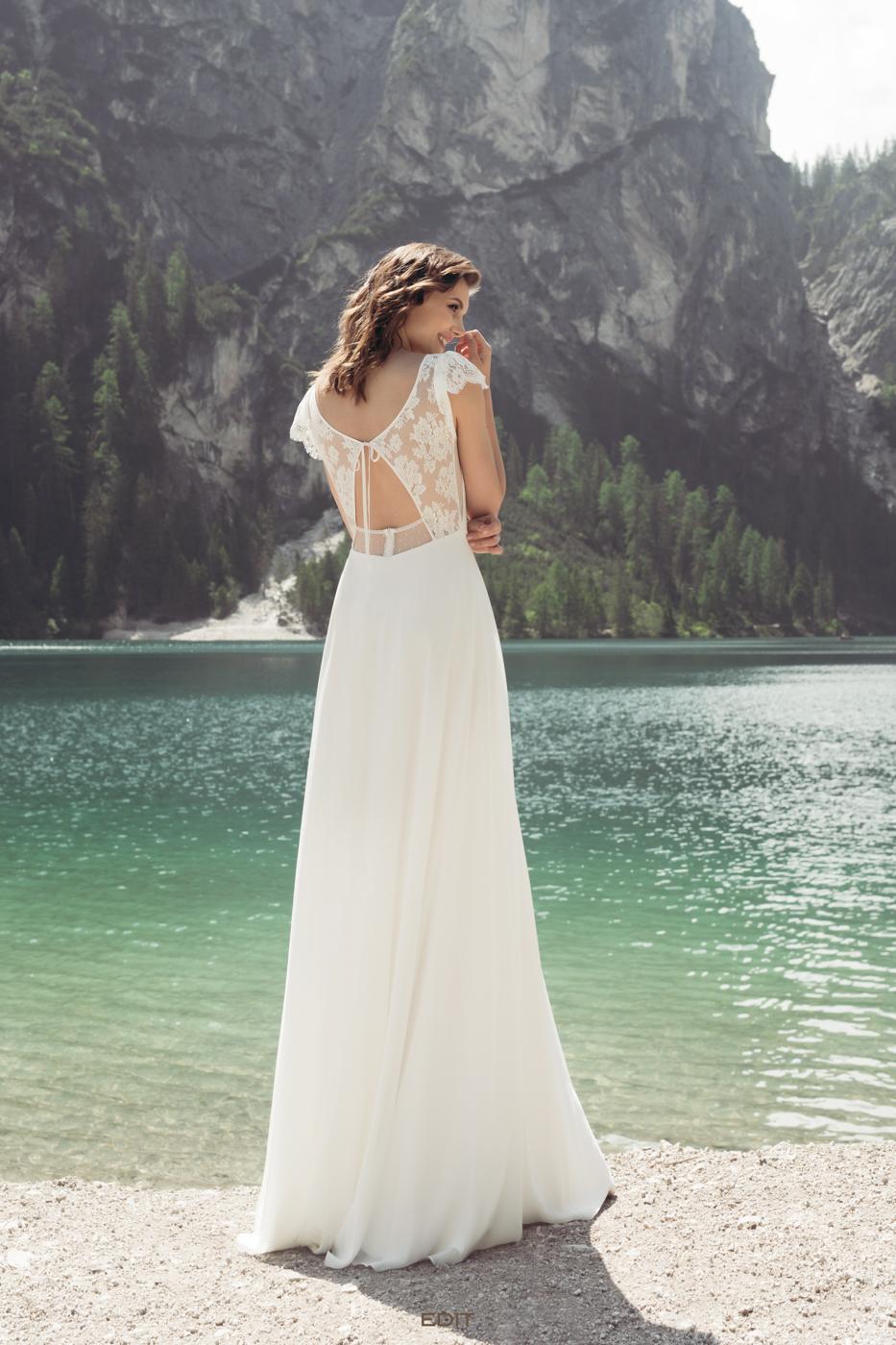 ausgefallener Rücken vintage Brautkleid myLovely unter 1200€ chiffon Rückenausschnitt