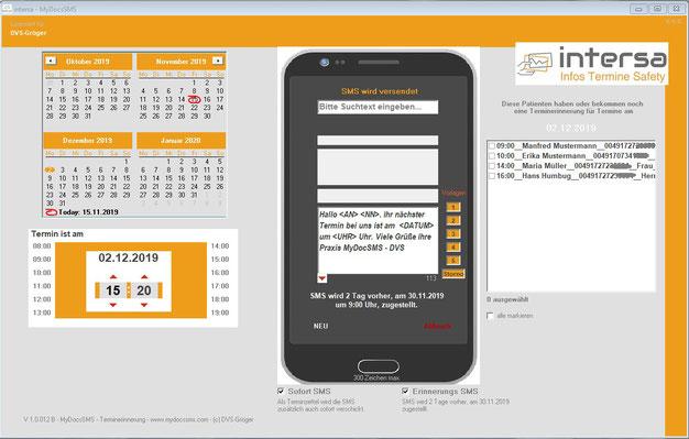 intersa SMS - Terminerinnerungen per SMS - Mainscreen
