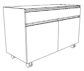 Meuble mobile sous paillasse portes et tiroir