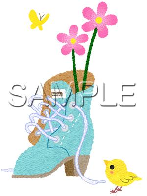 イメージイラスト/ブーツの挿し花
