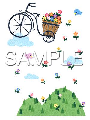 イメージイラスト/花かご自転車