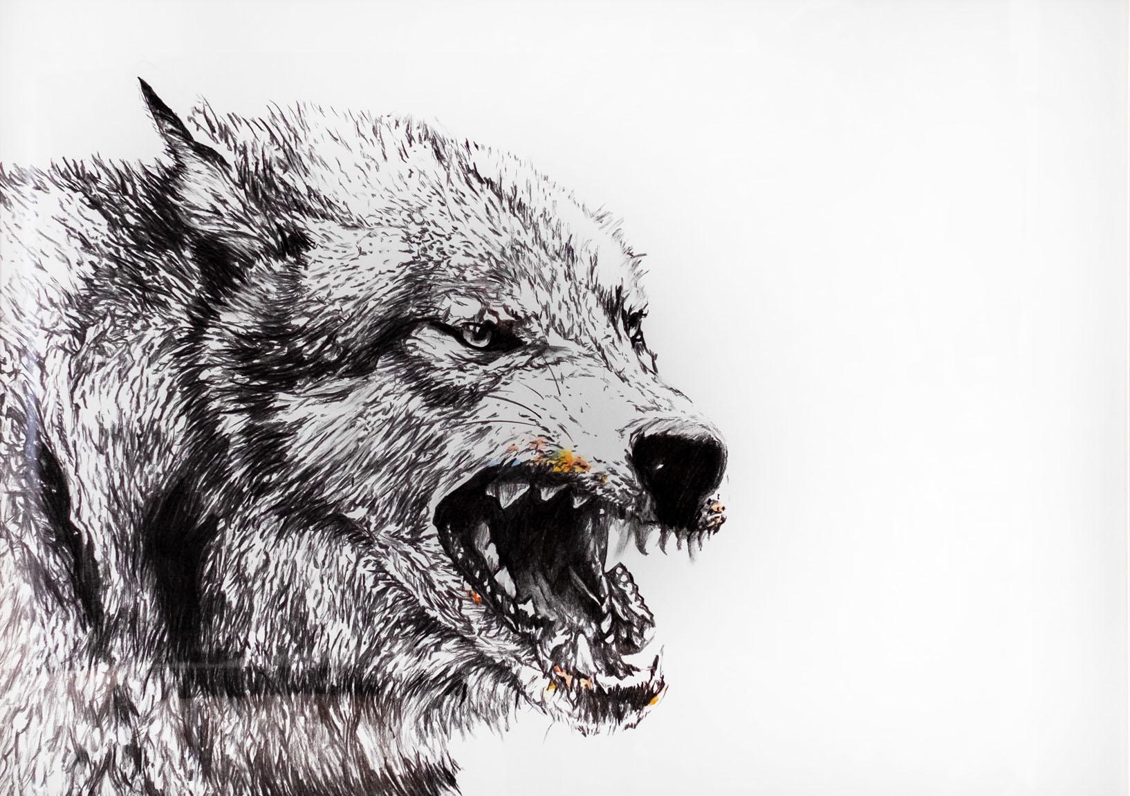 Böse 100x140cm charcoal, watercolor 2021