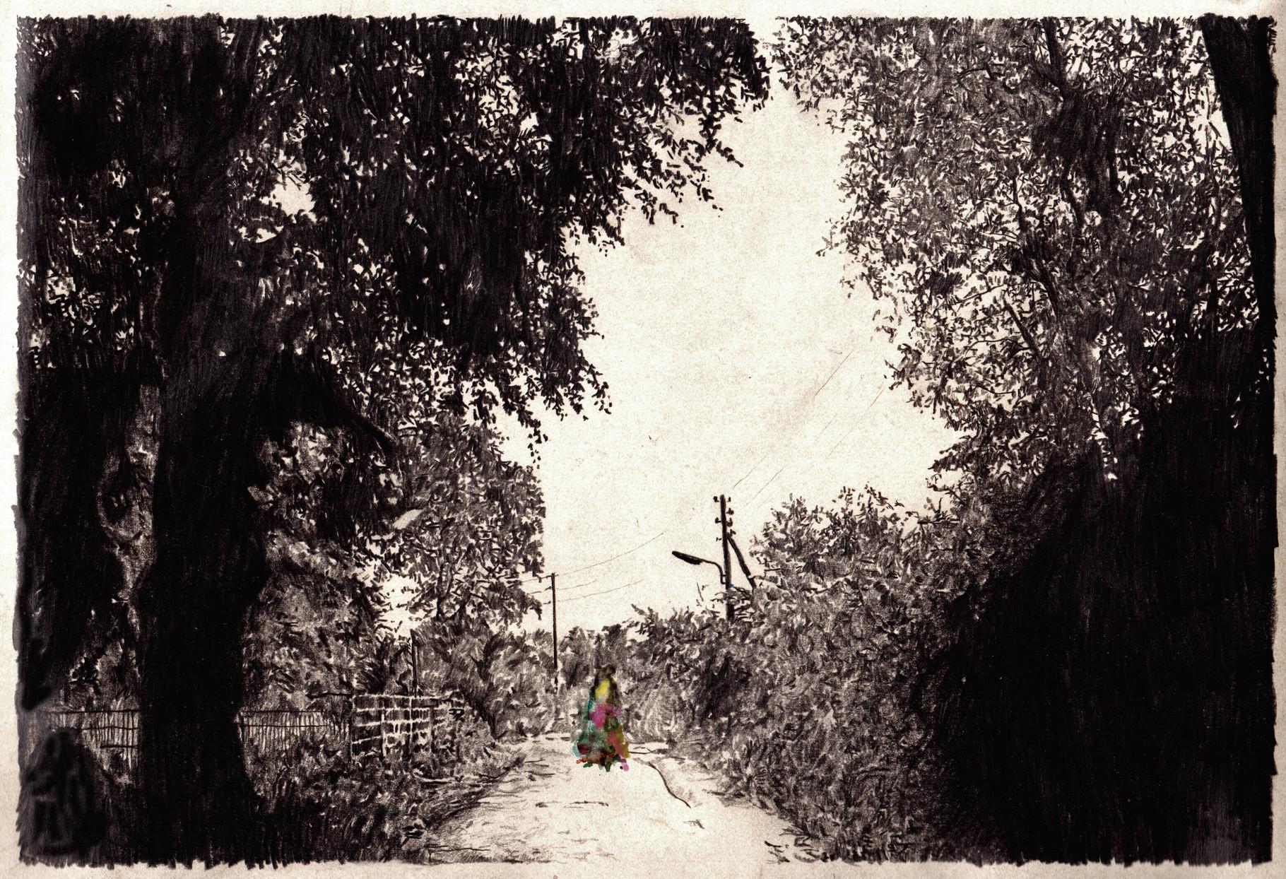 Lost Track II 30x40cm pencil, watercolor 2015