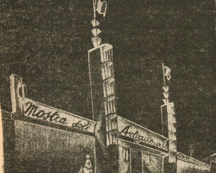"""Schizzo raffigurante l'ingresso della Mostra (""""Il Popolo Biellese"""","""