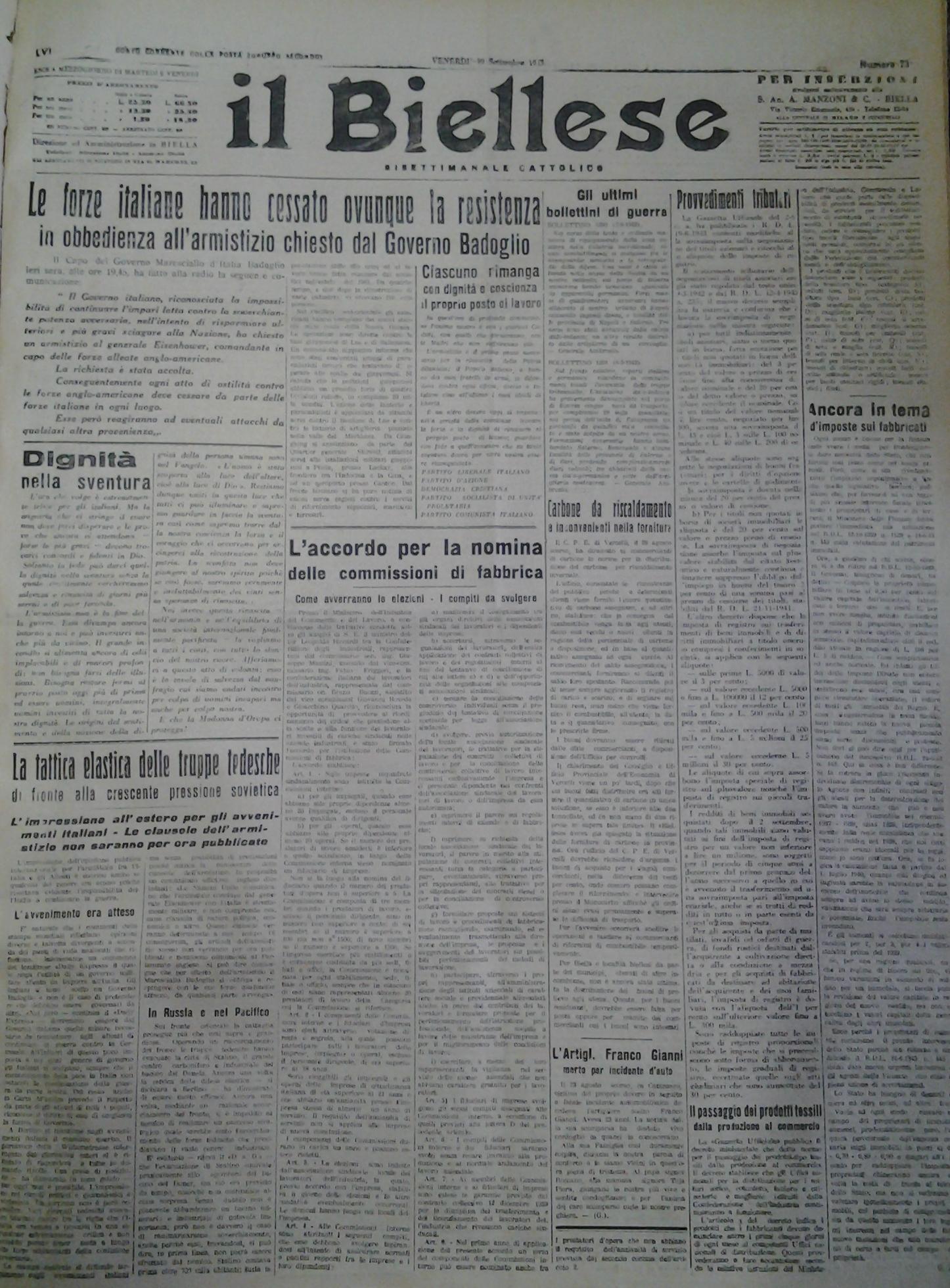 """La prima pagina de """"il Biellese"""" del 10 settembre 1943"""