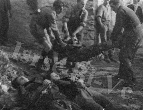 Una drammatica immagine del recupero delle salme di caduti partigiani (Archivio fotografico dell'Istituto per la storia della Resistenza e della società contemporanea nel Biellese, nel Vercellese e in Valsesia, fondo Tempia)
